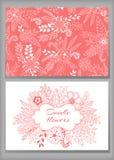 Le design de carte, les fleurs et la feuille de Loral gribouillent des éléments illustration stock