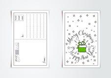 Le design de carte de salutation de nouvelle année avec schéma a stylisé le cadeau et les flocons de neige de Noël Illustration d illustration de vecteur