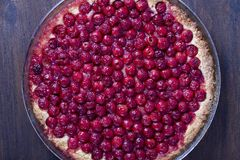 Le dessert organique fait maison de tarte aux cerises tout préparé, se ferment  Cherry Tart photographie stock