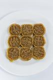 Le dessert thaïlandais traditionnel a appelé Kao TU de la plaque blanche image stock