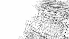 Le dessin abstrait raye dans le concept architectural d'art sur le blanc Images stock