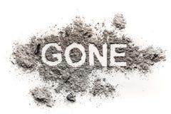 Le dessin allé de mot en cendre ou poussière comme perdue, disparaissent photos stock