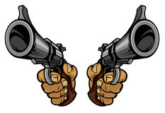 Le dessin animé remet des canons de fixation Photo libre de droits