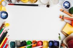 Le dessin coloré assure l'espace libre de cadre Photos libres de droits