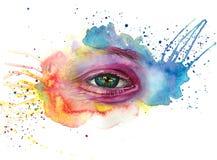 Le dessin d'aquarelle d'une tête du ` s d'homme est sale en peinture, visage multicolore, portrait, l'oeil ouvert, éclat sur l'ir Images libres de droits