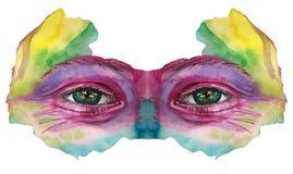 Le dessin d'aquarelle d'une tête du ` s d'homme est sale en peinture, visage multicolore, portrait, l'oeil ouvert, éclat sur l'ir Photo stock