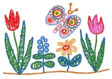 Le dessin d'enfant a dénommé les fleurs et le papillon illustration de vecteur