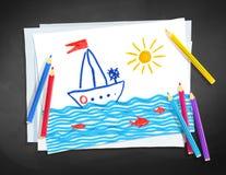 Le dessin d'enfant du bateau et voient des vagues illustration stock