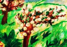 Le dessin d'enfant du pommier garten en fleur illustration libre de droits