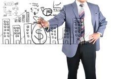 Le dessin d'homme d'affaires obtiennent l'argent Image libre de droits
