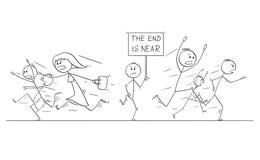 Le dessin de bande dessinée de la foule des personnes courant dans la panique à partir de l'homme avec l'extrémité est près de si illustration stock