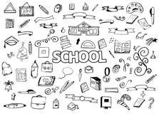 Le dessin de dessin à main levée gribouille des articles De nouveau à l'école Illustration de vecteur Ellements de conception illustration stock