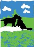 Le dessin de deux est tombé chez le chien d'amour sur pique-niquer Photo stock