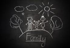 Le dessin de l'enfant avec la craie sur la famille heureuse de tableau noir d'école Images libres de droits