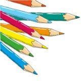 Le dessin de l'enfant avec le griffonnage coloré de crayons Photos stock