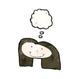 le dessin de l'enfant d'un visage femelle heureux avec la bulle de pensée Photographie stock libre de droits