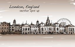 Le dessin de scape de ville à Londres, Angleterre, montrent le vieux château Photos libres de droits