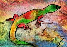 Le dessin des enfants d'un lézard Photos libres de droits
