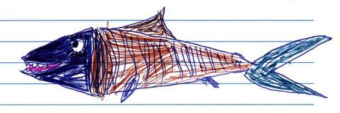 Le dessin des enfants d'un poisson Images libres de droits