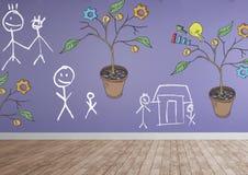 Le dessin des graphiques de gestion sur l'usine s'embranche sur le mur avec des dessins de famille Images libres de droits