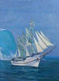 Le dessin du bateau est sous la voile, peinture Photo stock