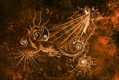 Le dessin du dragon ornemental et le soleil avec du vin poussent des feuilles sur le vieux fond, collage d'ordinateur et structur illustration libre de droits