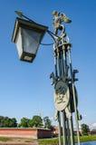 Le dessus d'une lanterne sur le pont d'Ioannovsky de Peter et de Paul Fortress Images stock