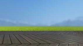 Le dessus de table en bois sur le champ vert 3D rendent Photos stock