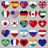 Le dessus du pays, un ensemble de drapeaux sous forme de coeur illustration de vecteur