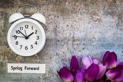 Le dessus en avant de concept de ressort de temps heures d'été regardent vers le bas avec l'horloge blanche et les tulipes pourpr Photographie stock libre de droits