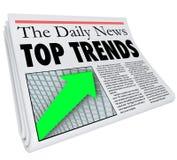 Le dessus tend le rapport Produ populaire d'article d'histoire de titre de journal Images stock