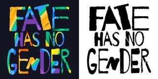 Le destin n'a aucun genre Inscription lumineuse multicolore monochrome et color?e illustration libre de droits
