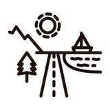 Le destinazioni di festa della montagna e della spiaggia si sono divise in strada con shinning del sole, albero, oceano e barca I illustrazione vettoriale