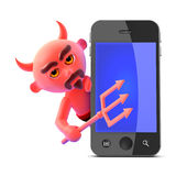 le diable 3d trouve un smartphone Photos stock