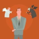 Le diable et l'ange blanc indiquant la direction différente ont confondu l'homme Photo stock