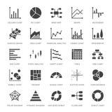 Le diagramme dactylographie les icônes plates de glyph Graphe linéaire, colonne, diagramme de beignet de tarte, illustrations fin illustration libre de droits