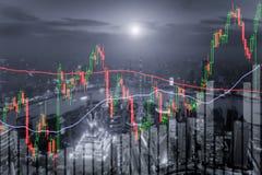 Le diagramme de chandelier modèle la tendance à la hausse, marché boursier sur Changhaï CIT Images libres de droits