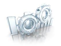 Le diagramme en verre d'histogramme avec la roue dentée de travail embraye Photos libres de droits