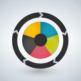 Le diagramme rond s'est divisé en 5 secteurs Calibre infographic moderne de conception Illustration de vecteur pour la présentati illustration libre de droits