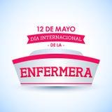 Le diamètre internacional de la enfermera, 12 De Mayo, jour international d'infirmières peut texte de 12 Espagnols Image stock