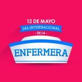 Le diamètre internacional de la enfermera, 12 De Mayo, jour international d'infirmières peut texte de 12 Espagnols Images libres de droits