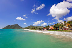 Le Diamant Beach. Beautiful Beach Scene in Martinique, French Ov Stock Images