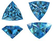 Le diamant bleu de forme de triangle a isolé Photographie stock libre de droits