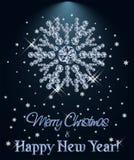 Le diamant de Joyeux Noël et de bonne année wallpaper avec le flocon de neige de Noël illustration stock