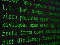 Le dictionnaire du pirate informatique a montré sur l'écran d'ordinateur image libre de droits
