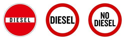 """Le diesel pas a permis le signe Texte dans le roadsign de """"aucune entrée """", et cercle rouge illustration libre de droits"""