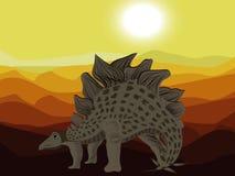 le dinosaur du découpage 3d au-dessus du chemin rendent le stegosaurus d'ombre blanc Photographie stock libre de droits