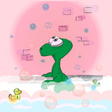 Le dinosaure mignon prend un bain Photo libre de droits