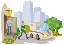 Le directeur accompagne le banquier des revenus dans la voiture sur le fond de ville illustration stock