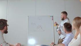 Le directeur masculin présente le diagramme à ses associés dans le briefing, banque de vidéos